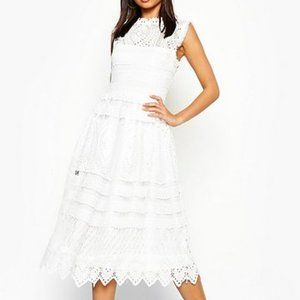 Boohoo Boutique Crochet Lace Eyelet Midi Dress
